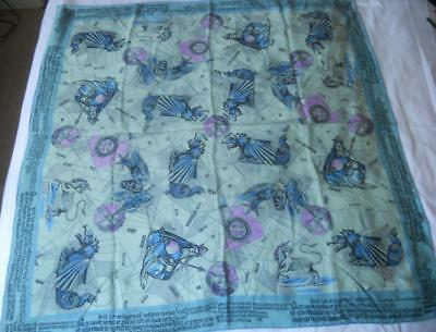 Vintage Christian Fischbacher Pure Silk Scarf Square Wizards Mythical Creatures