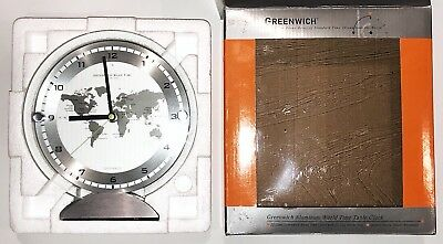 GREENWICH ALUMINUM WORLD TIME TABLE CLOCK NEW In Open Box