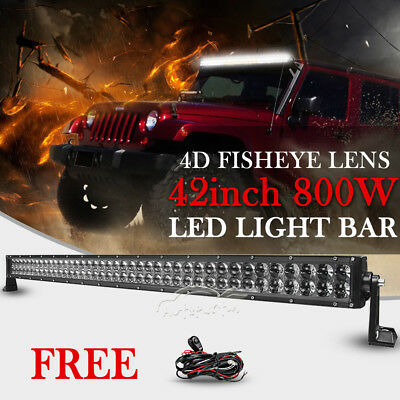 42inch 800W PHILIPS LED Work Light Bar Combo Offroad Truck Driving SUV 40/45/50""