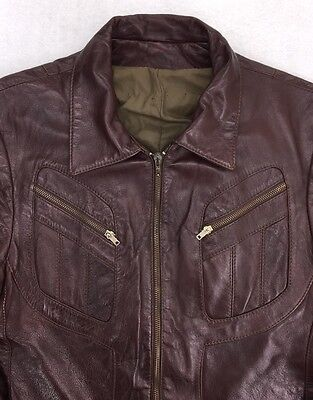 Vintage Brown Leather Jacket MADE IN NEW YORK CITY USA sz Large? Bomber #1020