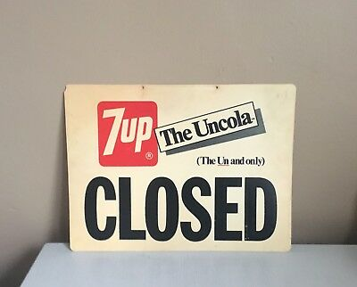 Vintage 1950's Original 7up Soda Pop Store Sign w/ Open & Closed For Window