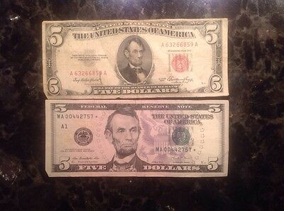 1953  $5 United States  Note - Red Seal + 2013 $5 FRN - STAR NOTE