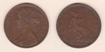 Great Britain One Penny 1861  ---  Gbad