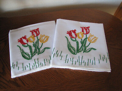 Vintage Pair of Pillowcases Embroidered Red & Yellow Tulips In A Row Wow