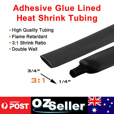 1m/3ft Black 3:1 Double Wall Heat Shrink Tube 19.1mm Sleeving Wrap Wire Sleeve
