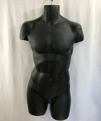 Black Male Mannequin Muscular 1/2 Torso Hollow Back w Double Hooks Hanging Form