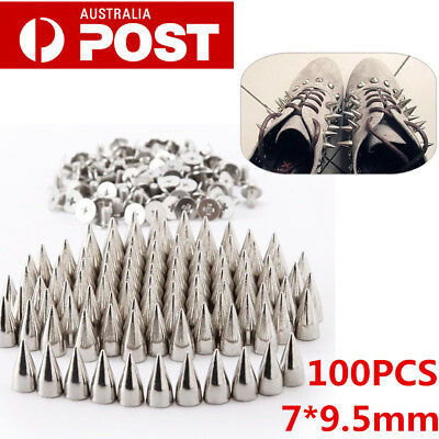 100pcs Metal Studs Rivet Bullet Spike Cone Screw Leather Craft DIY 7X9.5mm AU