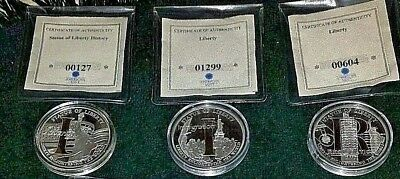 Statue of Liberty, Enlightening of the World, Commemorative Coins with COA's 32g