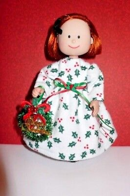 """CHRISTMAS FLANNEL NIGHTGOWN w/HOLLY DESIGN FOR 8"""" MADELINE DOLL CHRISTMAS WREATH"""