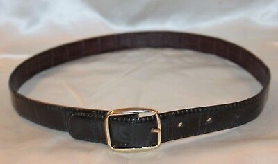 """Boys Dress Belt Double Sided Leather Brown and Black Faux Croc Fits 25.5"""" to 29."""