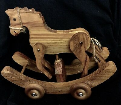 """Handmade Solid Wood Rocking Horse 10"""" X 10"""" Yearn Tail Natural Brown Wheels"""
