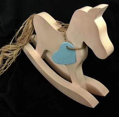 """Handmade Solid Wood White Rocking Horse 10"""" X 10"""" Yearn Tail Blue Heart"""