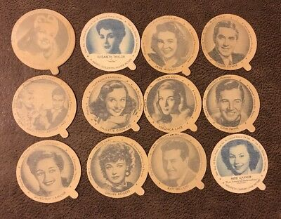 Lot: 23 Dixie Ice Cream Lids Classic Movie Stars Liz Taylor Ginger Rogers + more