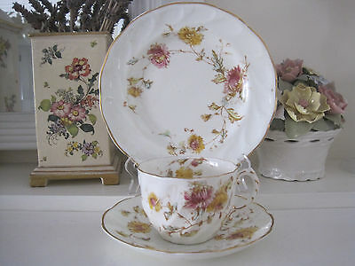 Antique Hand Painted Floral English Fine Bone China Trio C1892
