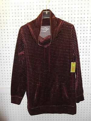 MADE FOR LIFE Misses XL Merlot Velour / Lurex Cowl-Neck Tunic Top FREE Shpg NWTA
