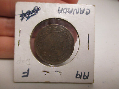 1919 Canadian Large Penny 1C Cent World Coin - Fine F