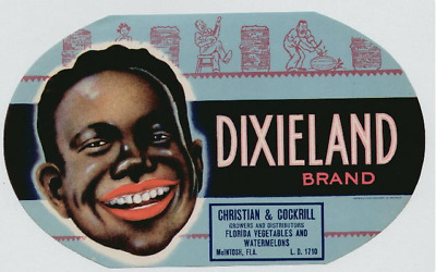 Vintage DIXIELAND WATERMELON CRATE FRUIT BOX Label Unused 1930s Black Americana