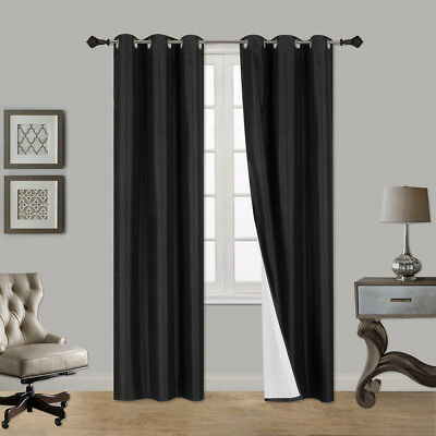 1 Piece Thick Faux Silk Blackout Insulated Room Darkening Grommet Window Curtain
