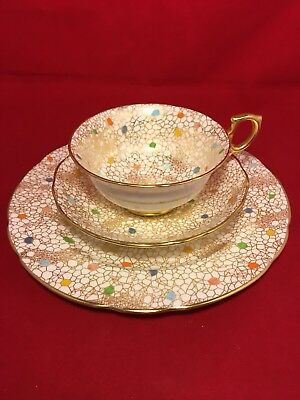 Hammersley & co Carnival Dots Chintz Gilt Gold Trim Cup & Saucer & Underplate