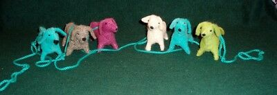 6 Ft Holiday Colorful Dachshund Christmas Garland - 6  Dogs  on a Blue Cord