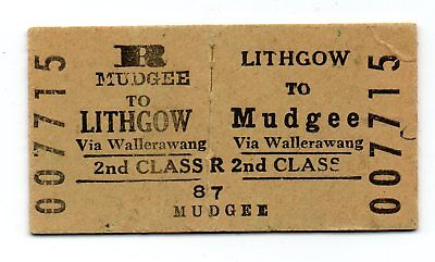 NSWGR Mudgee to Lithgow 2ns Class Railway Ticket