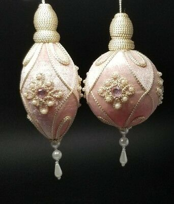 2 Vintage Victorian Pink Pearl Velvet Beaded Jeweled Christmas Ornament w Tassel