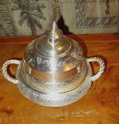 Antq BARBOUR BROS. Silver plate Dome etched Floral, Repousse BUTTER DISH, 1800's