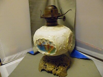 Antique Brass Acorn Leaf Base Milk Glass Center Painted Windmill Flower Oil Lamp