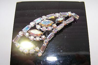 Beautiful Vintage signed PIERRE large Rhinestone AB Brooch  Made in Canada  VGC