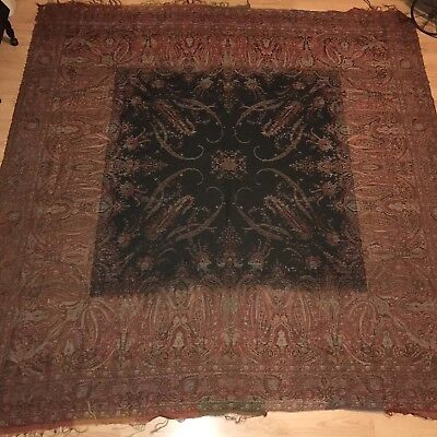 Antique Victorian Wool Blend Paisley Piano Shawl Fabric Textile Red Black As Is