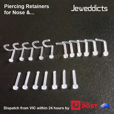 Piercing Retainers for Nose Ear Lip Transparent Clear Flexible Body Jewellery