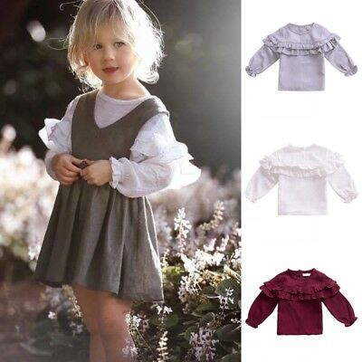 Toddler Kid Baby Girl Long Sleeve Warm Tops T-Shirt Infant Ruffle Blouse Clothes