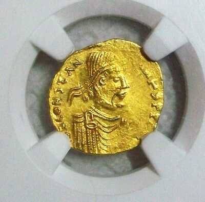 ND(AD 641-668) BYZANTINE EMPIRE CONSTANS II GOLD AV TREMISSIS(1.5 gm) NGC MS