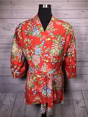 NEW 100% Rayon Authentic Japanese Short Kimono/Robe  Floral, Made In Japan