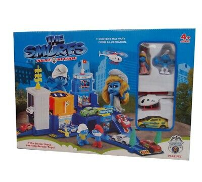 The Smurfs Police Station Playset Pull Back Car Diecast Vehicle + Helicopter Toy
