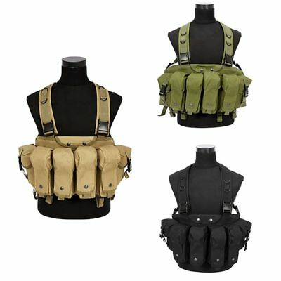 AU Airsoft Military Camo Tactical Vest Ammo Chest Rig Magazine Carrier Tactical