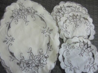 bulk vintage 3 piece DUCHESS SETS - 12 oval, 24 circles, embroidered cotton