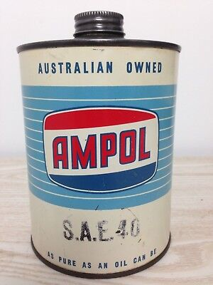 Ampol SAE 40 1 Imperial Quart Tin - Vintage Collectable Rare