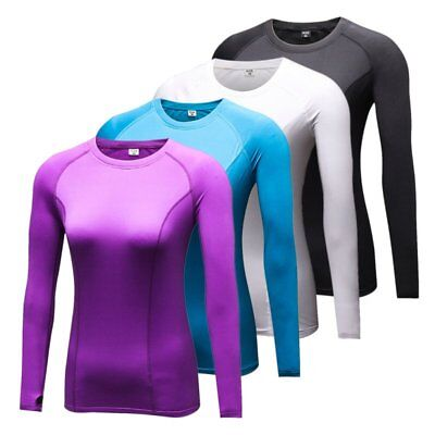 Fast Dry Women Long Sleeve Compression Skin Tight Base Layer Shirt Cycling Top