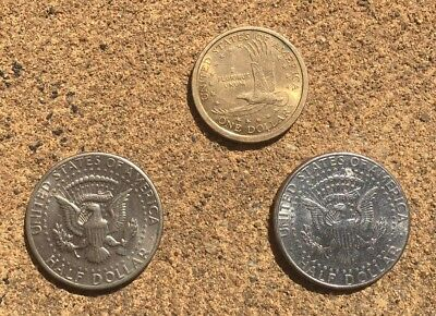 One US Dollars and Two Half Dollar