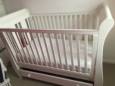 Berg white sleigh cot With Draw And Nursing Chair With Foot Stool Bundle