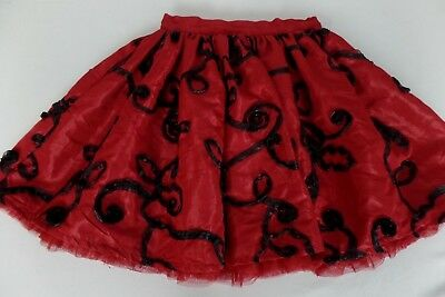 The Childrens Place Girls XS 4 Fancy Holiday Christmas Red Full Twirl Skirt EUC