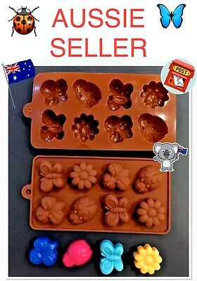 🌼🐞🦋silicone~Bugs+ Flowers~8 Cav Tray Mould~Mini Soy Tarts/chocs/soap/fondant