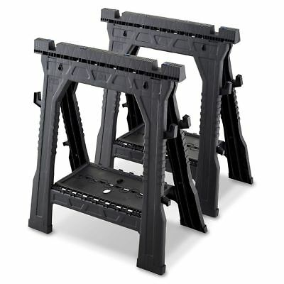 Blue Hawk Non-Skid Feet Plastic Saw Horse Sturdy Frame 1000-Lb 14.44-Inch New