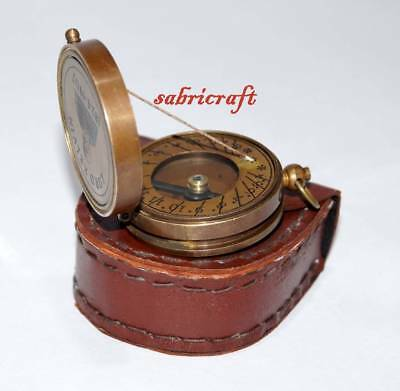 Brass Antique Compass Lord Kelvin Engraved Sundial Compass With Leather Box