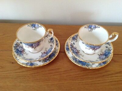 Royal Albert Moonlight Rose Trios x 2 1st Quality. 3 Available.