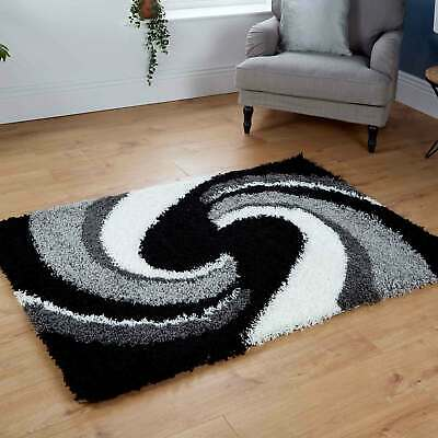 Modern Large Medium Small 5Cm Thick High Pile Non-Shed Black Grey Shaggy Rugs