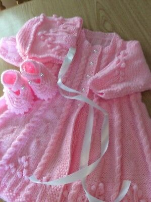 hand knitted baby girl 0-3 mth reborn pink vintage style long carry coat outfit