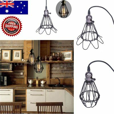 Retro Industrial Metal Opening & Closing Mini Cord Pendant Lights Wire Cage Lamp