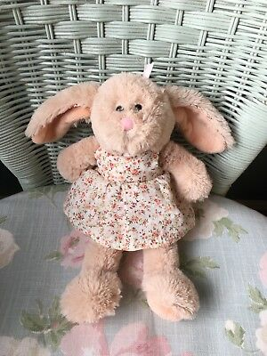 Keel Belle Rose Bunny Rabbit Soft Hug Toy Comforter Doudou In Flowery Dress